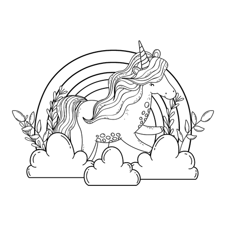 beautiful little unicorn in the clouds and rainbow vector illustration design