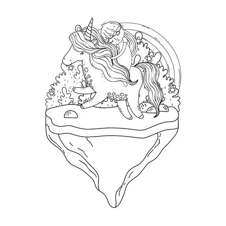 Hermoso pequeño unicornio con princesa en el paisaje, diseño de ilustraciones vectoriales