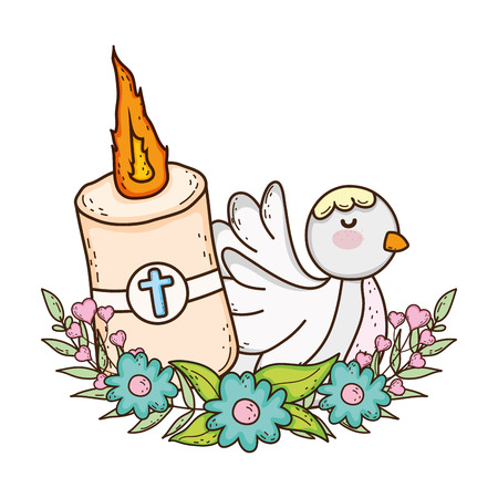 Paschal candle sacred with dove bird