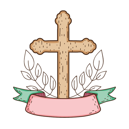 wooden cross christianity icon Illustration