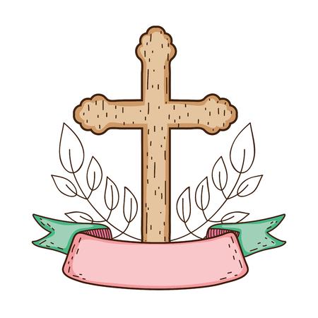 wooden cross christianity icon Ilustração