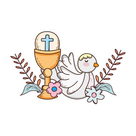 calice sacré religieux avec oiseau colombe
