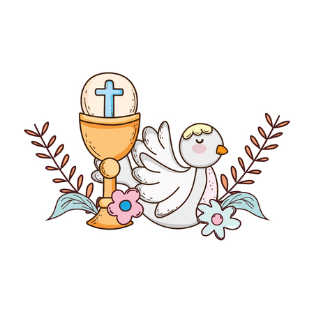 calice sacro religioso con uccello colomba