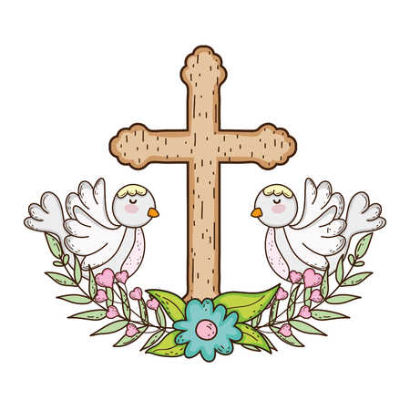 cute doves birds with cross Banque d'images - 116332669