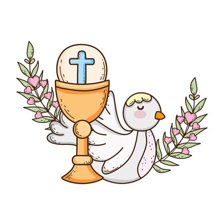 heilige kelk religieus met duifvogel Vector Illustratie