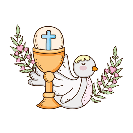sacred chalice religious with dove bird