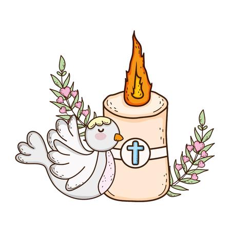 Paschal candle sacred with dove bird Vektorové ilustrace