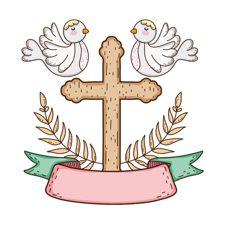 cute doves birds with cross Banque d'images - 116332557