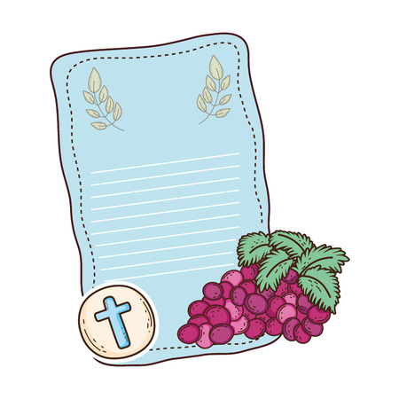 first communion card with grapes