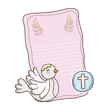 cute dove bird religious icon  イラスト・ベクター素材