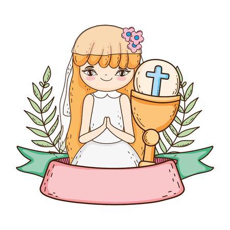 kleines Mädchen mit Kelch bei der Erstkommunionfeier