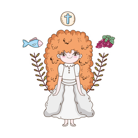 little girl and set icons in first communion celebration Illustration