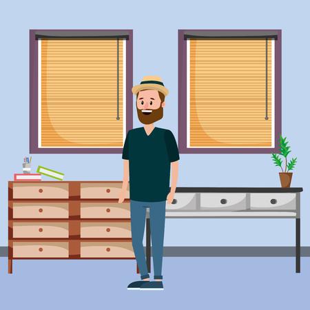 young man inside room cartoon vector illustration graphic design Stock Illustratie