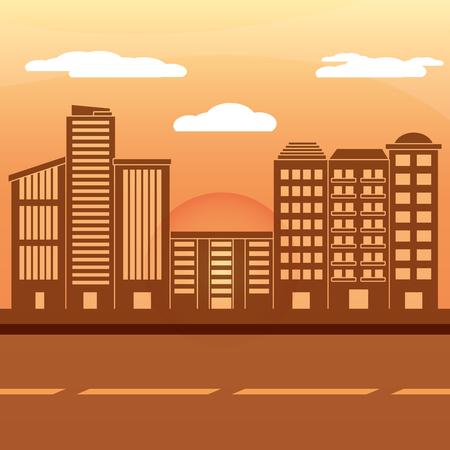 urban buildings sunset landscape cartoon vector illustration graphic design