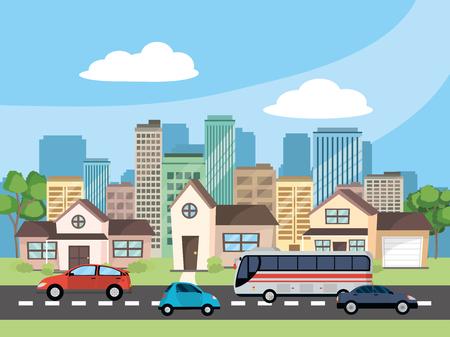 Transportkonzeptautos mit Bus an der städtischen Szene in der vorderen Stadtlandschaft und Häuserkarikaturvektorillustrationsgrafikdesign Vektorgrafik