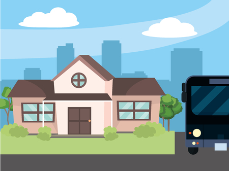 urban house and bus cartoon vector illustration graphic design