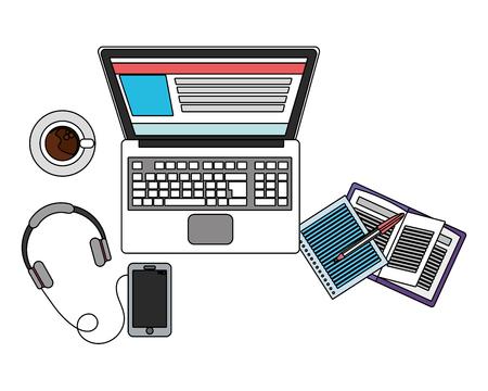technology device laptop cartoon vector illustration graphic design Illustration