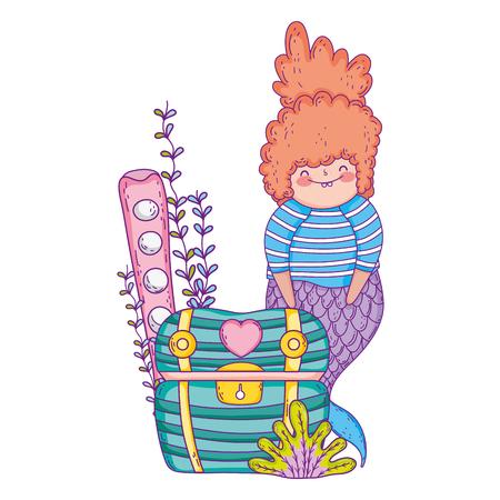 beautiful mermaid with treasure chest vector illustration design Ilustrace