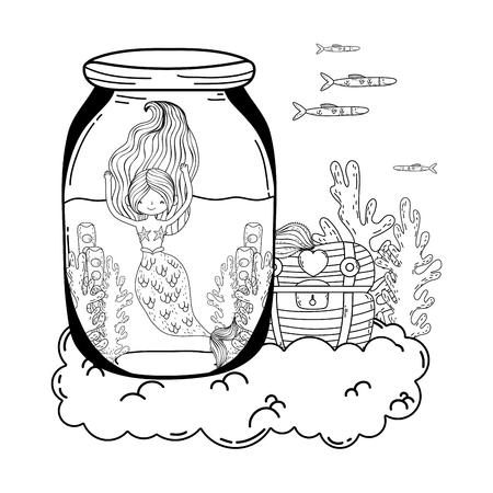 beautiful mermaid in mason jar with seaweed vector illustration design