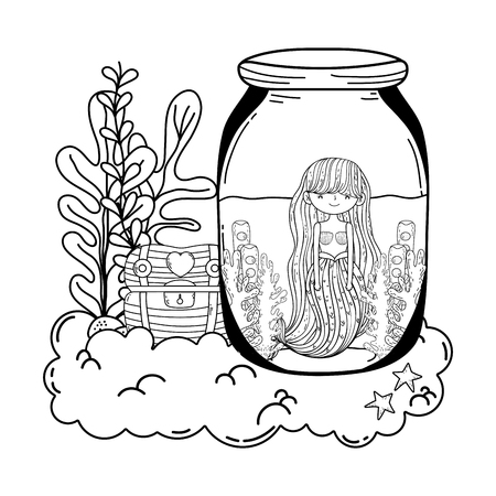 beautiful mermaid in mason jar with seaweed vector illustration design Imagens - 116590328