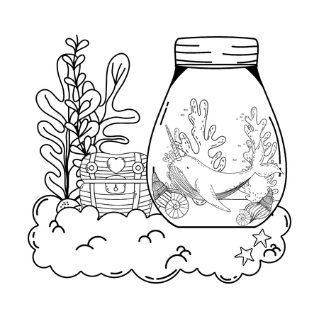 cute narval in mason jar and treasure chest vector illustration design 向量圖像