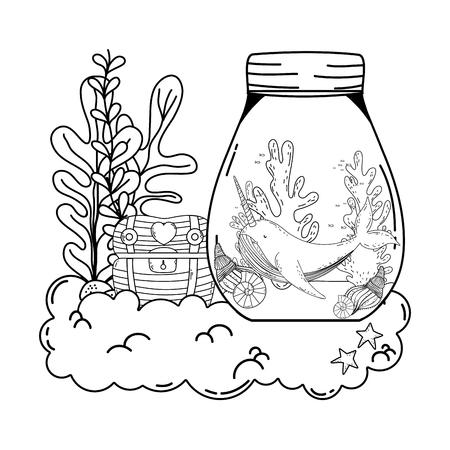 cute narval in mason jar and treasure chest vector illustration design Illustration