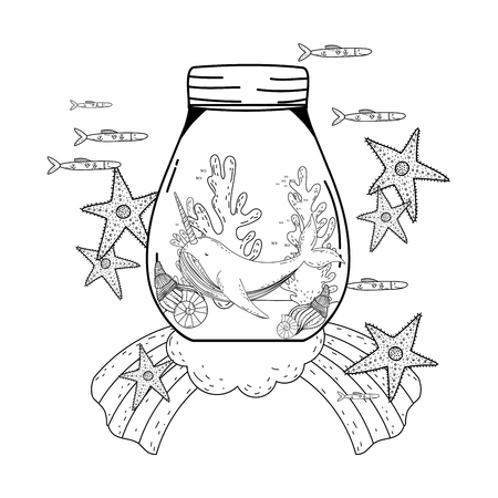 cute narval in mason jar and rainbow vector illustration design