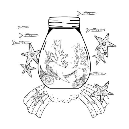 cute narval in mason jar and rainbow vector illustration design