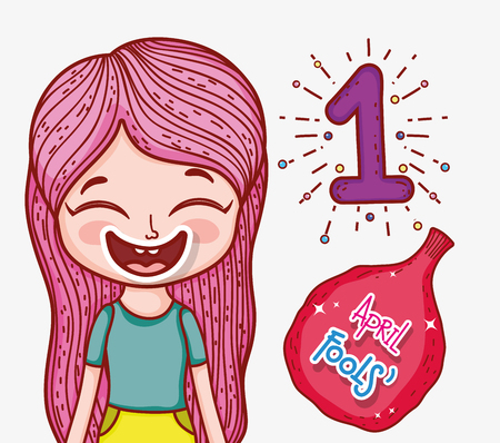 girl with whoopee bag to fools day vector illustration