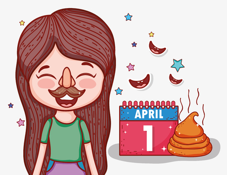 girl with funny mask to april fools day vector illustration