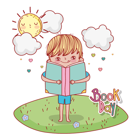 boy with lread book education and sun vector illustration