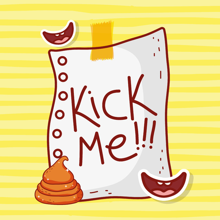 kick me paper with smiles and poop to fools day vector illustration Иллюстрация