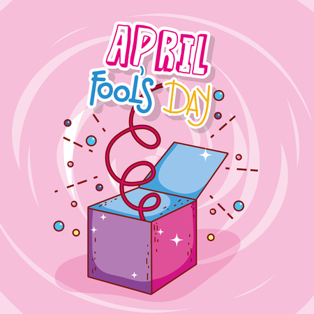 april fools day celebration box vector illustration