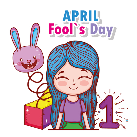 girl with rabbit box and fools day vector illustration