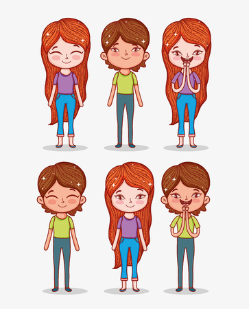 set cute boys and girls with hairstyle and clothes vector illustration Çizim