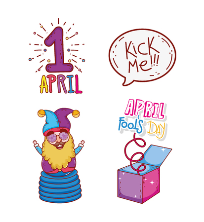 set april first with jester and box to fools day vector illustration