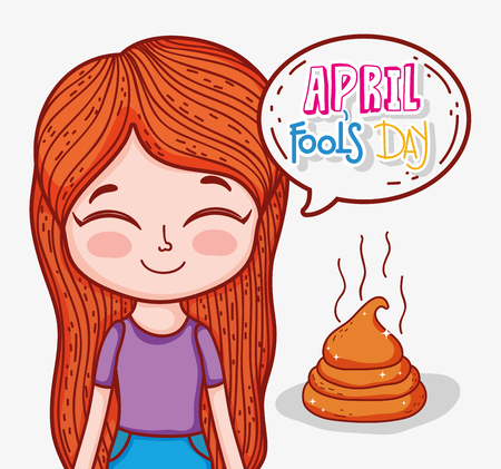 girl with april fools day and poop vector illustration Иллюстрация