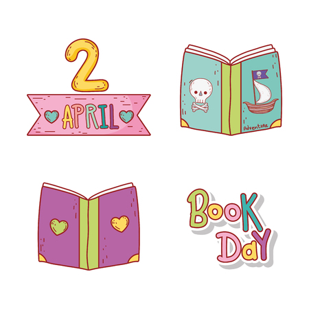 set education books to celebration event vector illustration