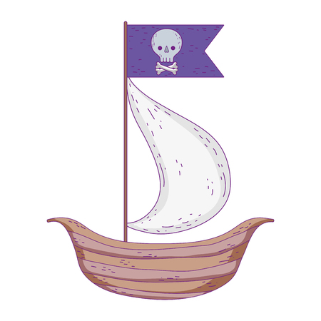wooden sailboat with pirate flag vector illustration design