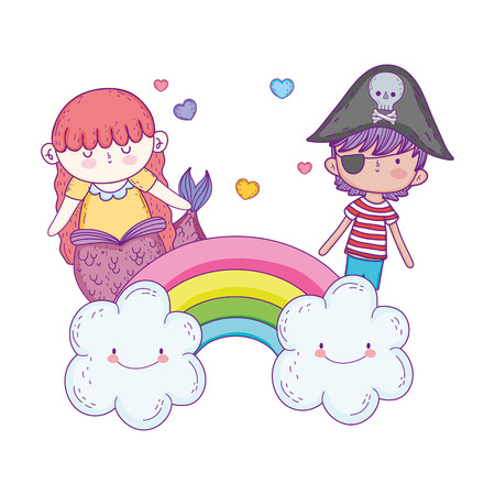 little pirate with mermaid in clouds vector illustration design Illustration