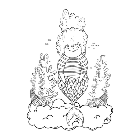 beautiful mermaid in clouds fairytale character vector illustration design Ilustrace
