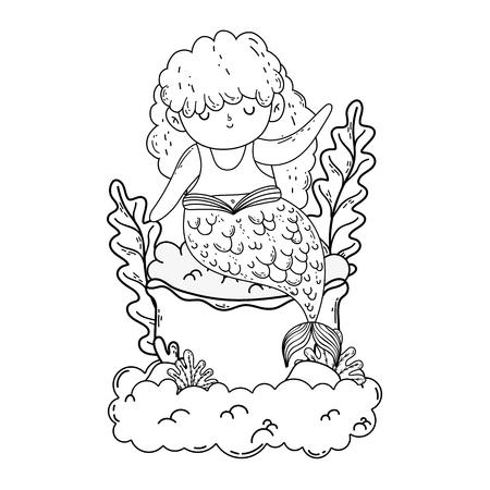 beautiful mermaid fairytale character vector illustration design