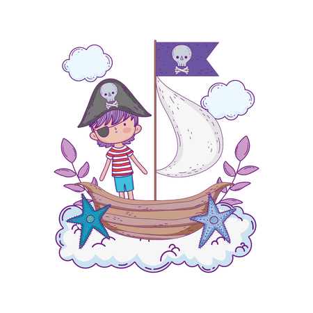 little pirate with boat in clouds vector illustration design