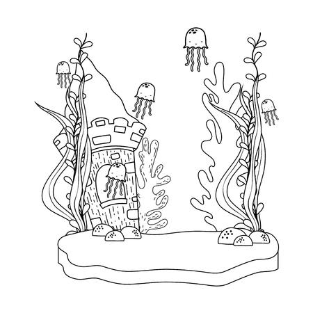 beautiful undersea scene with castle vector illustration design
