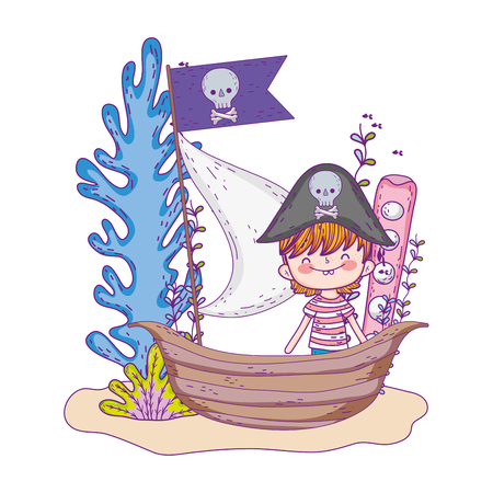 little pirate in boat fairytale character vector illustration design