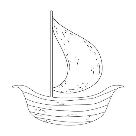 retro wooden sailboat icon vector illustration design