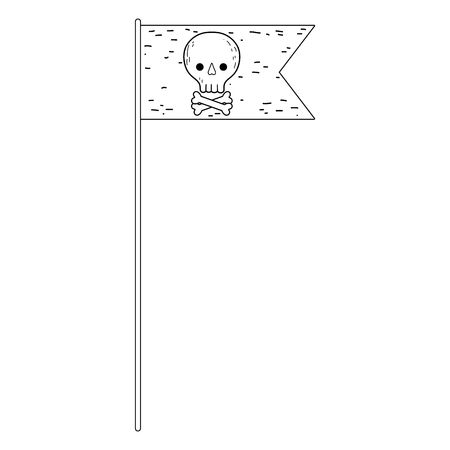 pirate flag with skull vector illustration design