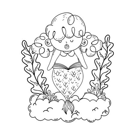 beautiful mermaid with seaweed fairytale character vector illustration design