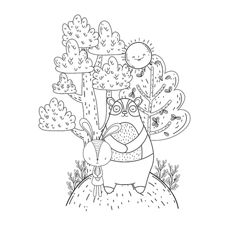 little bear teddy with sun kawaii in the landscape vector illustration design