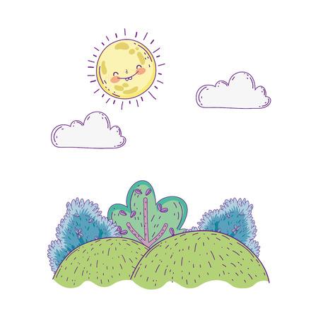 beautiful landscape with sun and bush scene vector illustration design Vectores